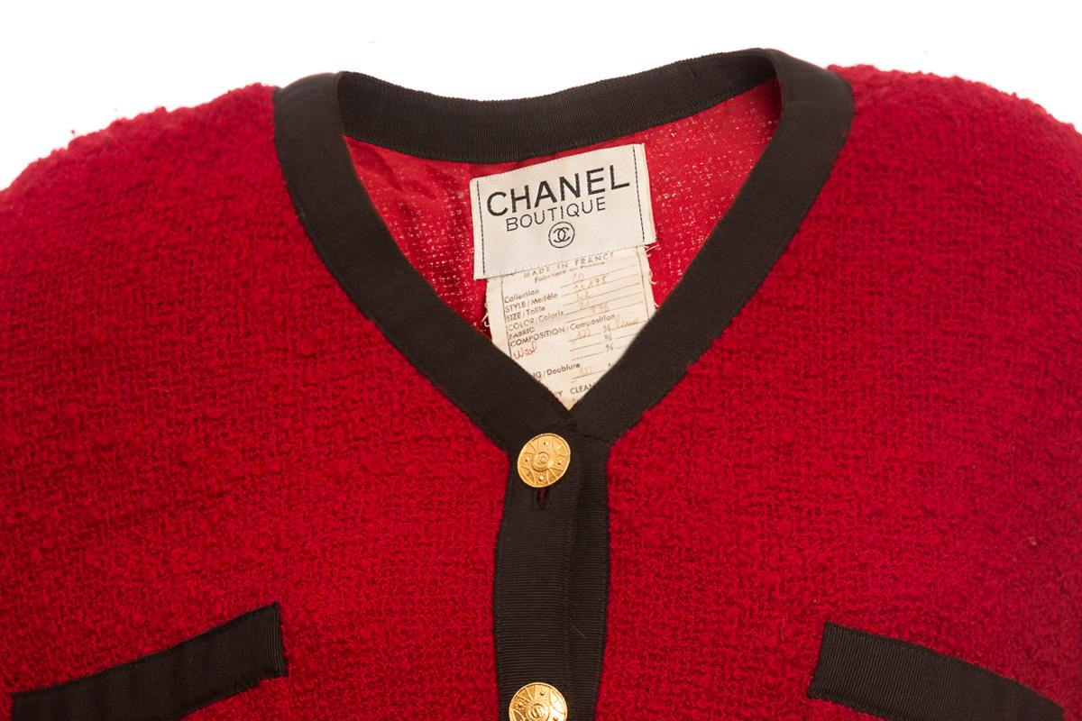 Классический твидовый темно-красный жакет от Chanel, 42 размер
