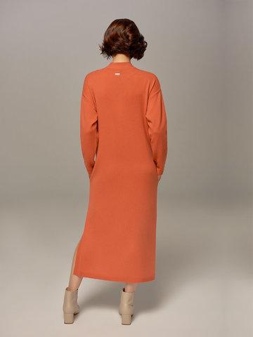 Женское платье кораллового цвета из шерсти и кашемира - фото 4