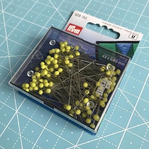 Булавки Prym, термостойкие с желтыми стеклянными головками 43х0,6мм (арт. 029153)