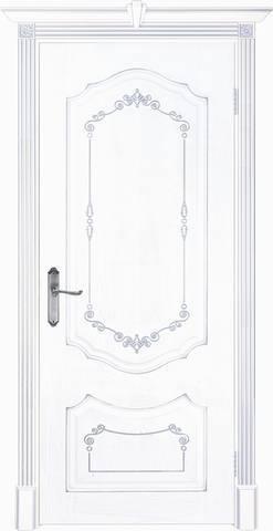 Дверь Prestigio Фьюджи-1, цвет шпон эмаль белая/патина серебро, глухая