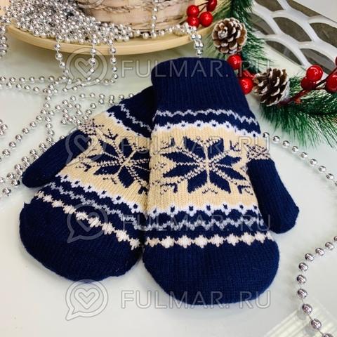 Варежки шерстяные вязаные Большая Снежинка (цвет: синий)
