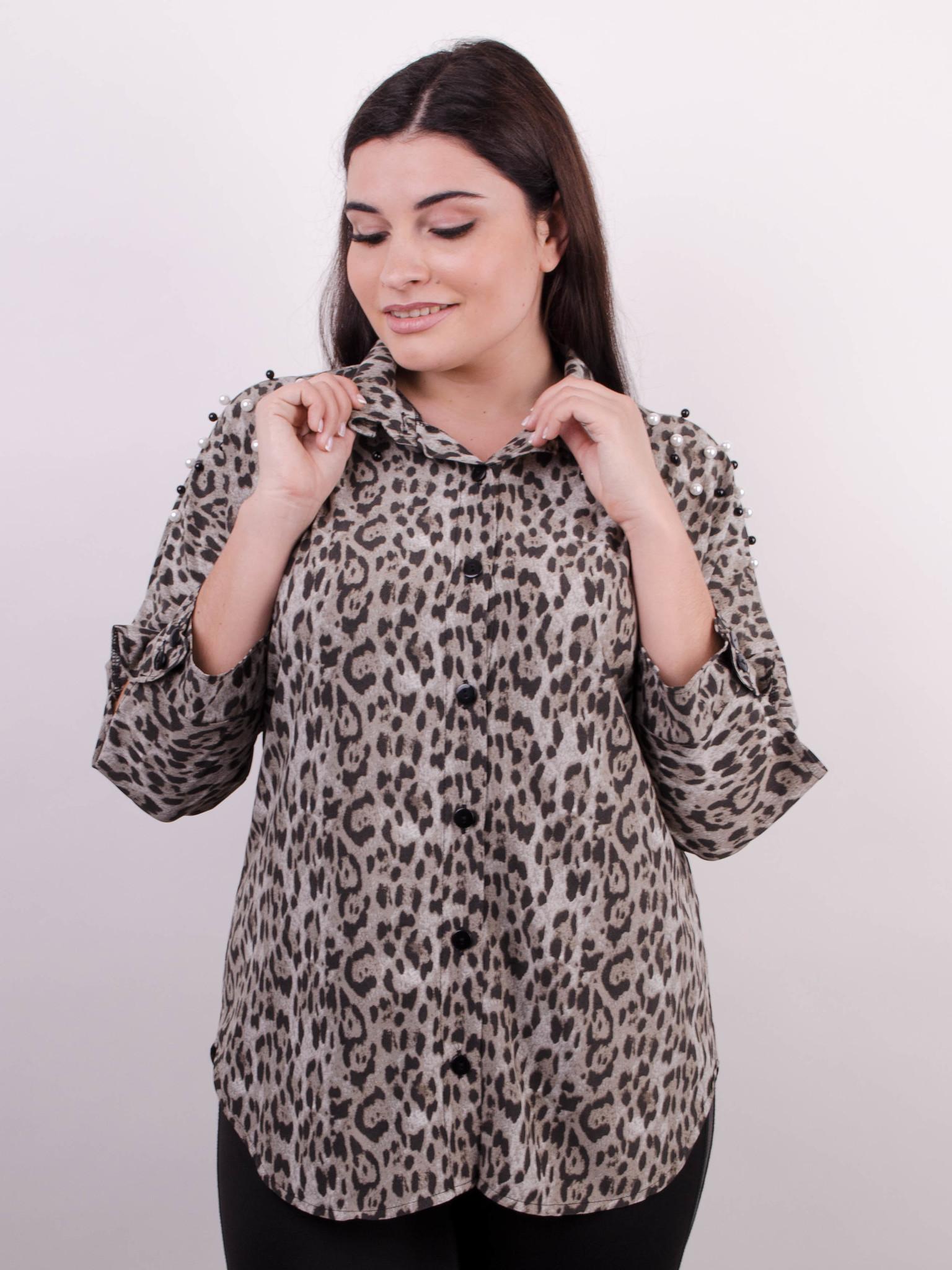 ad15c1ea7d1b28e Магда. Стильная женская рубашка больших размеров. Леопард серый ...