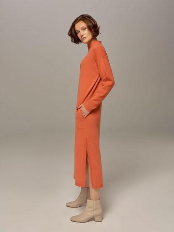 Женское платье кораллового цвета из шерсти и кашемира - фото 2