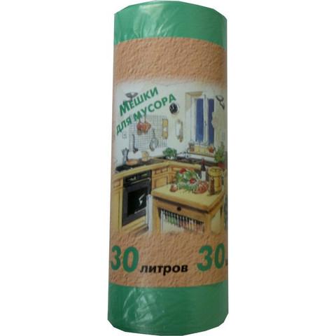 Мешки для мусора ПНД 30л 50x60см 10мкм зеленые 30шт/рул
