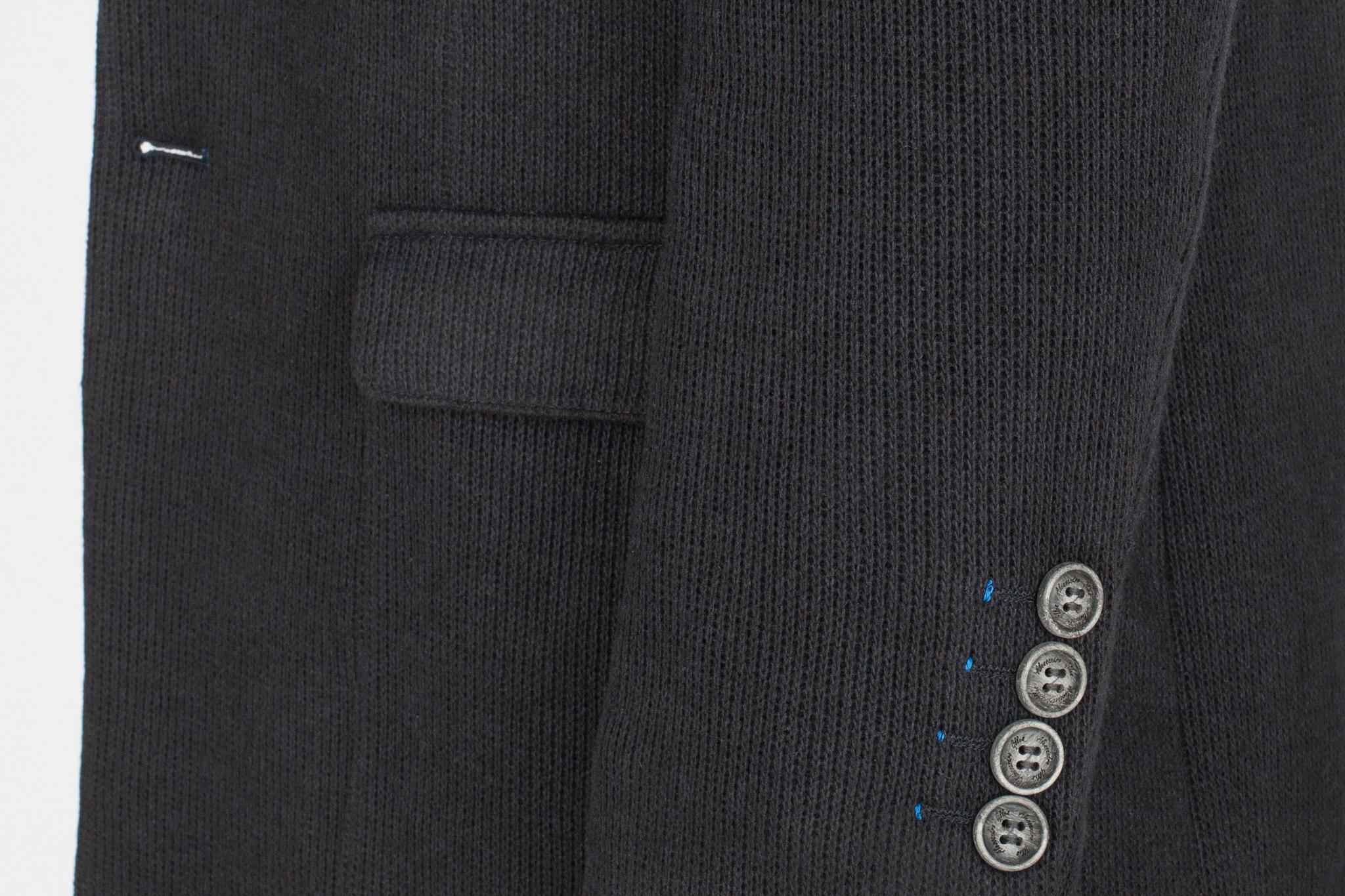 Тёмно-синее трикотажное пальто из смеси шерсти, хлопка и синтетики
