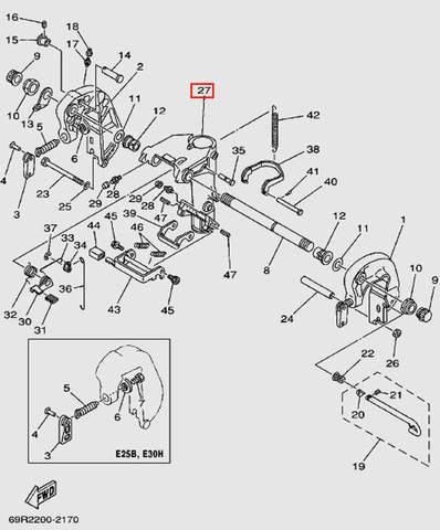 Кронштейн шарнирного соединения для лодочного мотора Т30 Sea-PRO (14-27)