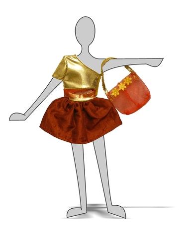 Костюм с юбкой - Демонстрационный образец. Одежда для кукол, пупсов и мягких игрушек.