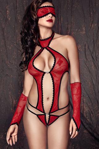 Красное эротическое польское открытое сексуальное кружевное боди Anais с ремешками