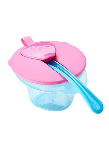 Тарелочка с отделением для охлаждения и разминания пищи с крышкой и ложечкой. (голубой-розовый)
