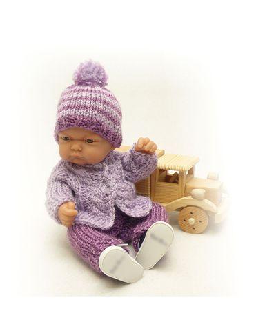 Вязаный жакет, рейтузы и шапочка - На кукле. Одежда для кукол, пупсов и мягких игрушек.