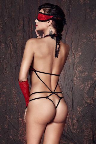 Красное эротическое польское открытое сексуальное кружевное боди Anais с ремешками вид сзади