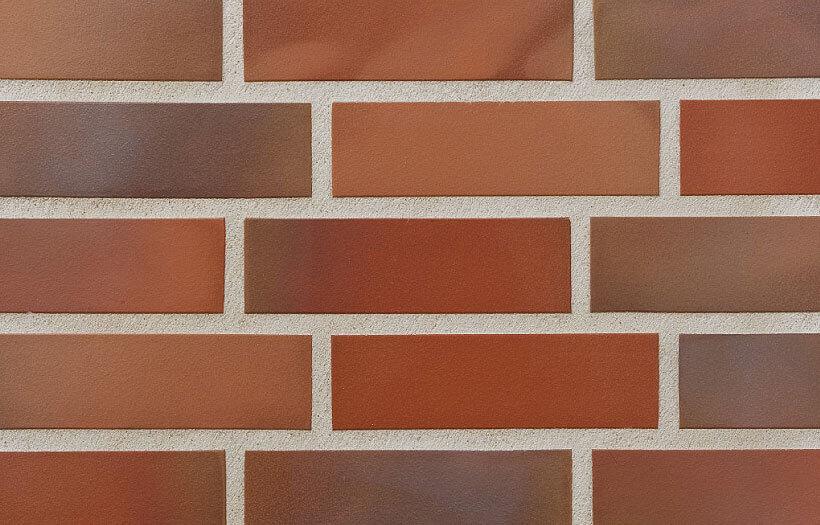Stroeher, фасадная клинкерная плитка, цвет 316 patrizienrot ofenbunt, серия Keravette, unglasiert, неглазурованная, гладкая, 240x52x8