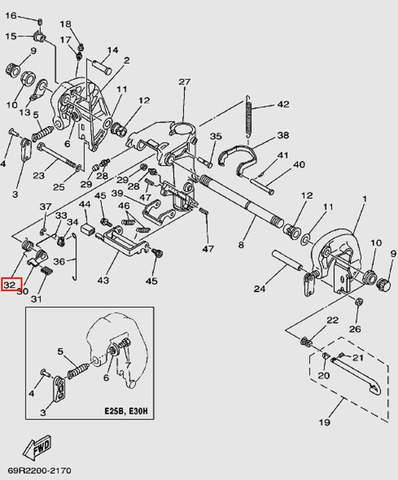 Пружина 65Мп для лодочного мотора Т30 Sea-PRO (14-32)