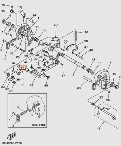 Рычаг поворотный для лодочного мотора Т30 Sea-PRO (14-34)