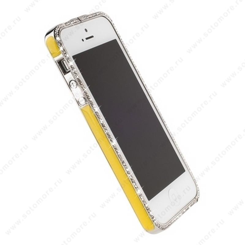 Бампер Newsh металлический для iPhone SE/ 5s/ 5C/ 5 со стразами желтый