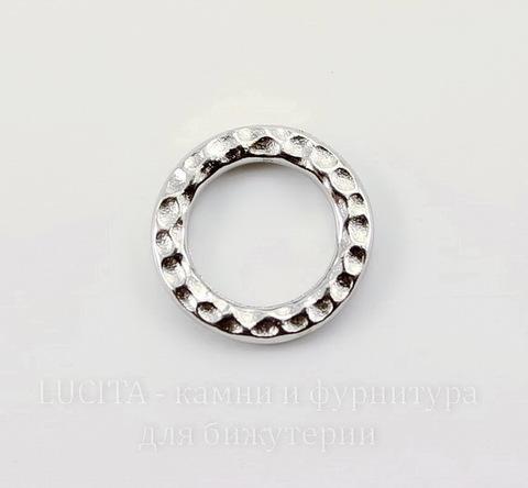 "Коннектор - кольцо TierraCast ""Hammertone"" 13 мм (цвет-платина)"
