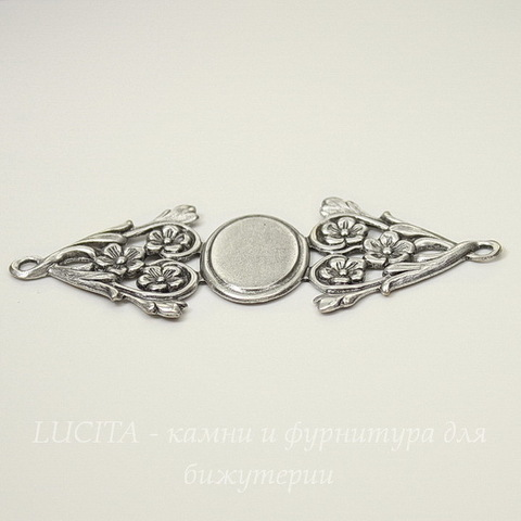 Винтажная основа для браслета 69х27 мм (филигрань)(оксид серебра)
