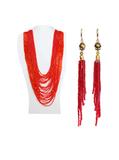 Комплект из красного бисера (серьги и колье) №3