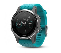 Cпортивные смарт часы Garmin Fenix 5S - серебристые с бирюзовым ремешком 010-01685-01