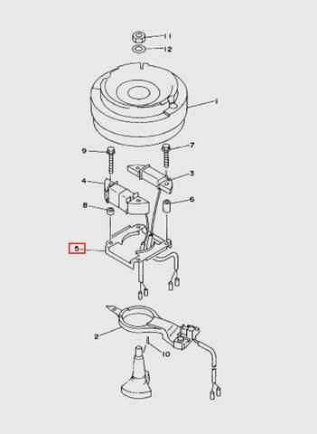 Основание магнетто  для лодочного мотора T15, OTH 9,9 SEA-PRO (8-5)