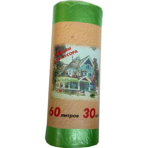 Мешки для мусора ПНД 60л 58x66см 10мкм зеленые 30шт/рул