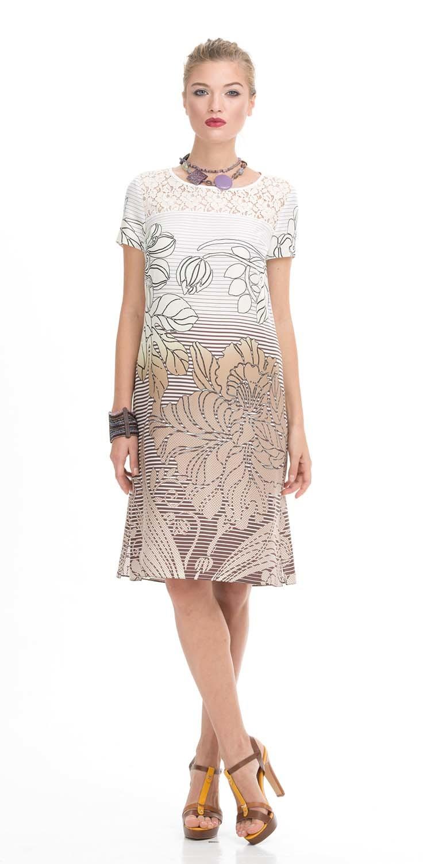 Платье З794-342 - Легкое летнее платье с цветочным принятом поможет создать женственный и игривый образ. Очень нежный цветочный принт выполненный в пастельных тонах плавно перетекает от нежно-кремового в белый цвет, придавая образу мягкость и легкость. Верх платья выполнен из белого гипюра и эта деталь придает образу изящество и воздушность.