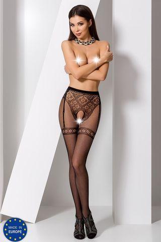 Эротические колготки с доступом S012 черного цвета фото