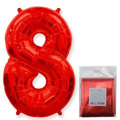 F Цифра, 8 Красный, 40''/102 см, 1 шт. в упаковке