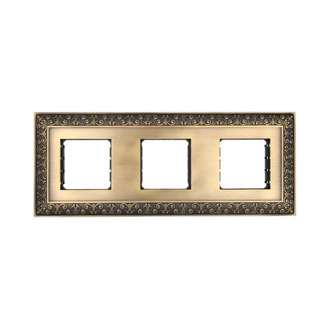 Рамка на 3 поста, декоративная металлическая в комплекте с суппортами. Цвет Бронза. LK Studio LUX (ЛК Студио Люкс). 854320-1