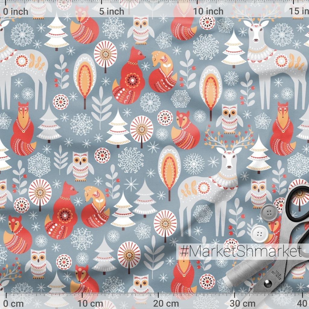 Олени, лисы, совы. Зимний лес. Скандинавский стиль. (Дизайнер Irina Skaska)