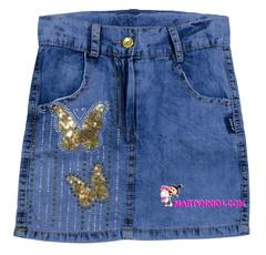 469 юбка золотые бабочки джинсовая