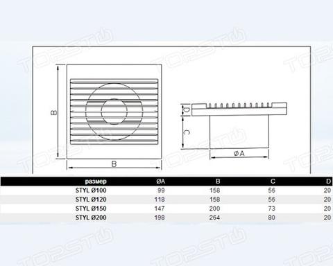 Вентилятор накладной Dospel Styl 150 WP (со шнурком вкл/выкл, электрокабель)