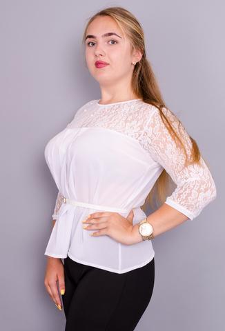 Тамара. Нежная женская блуза большого размера. Белый.