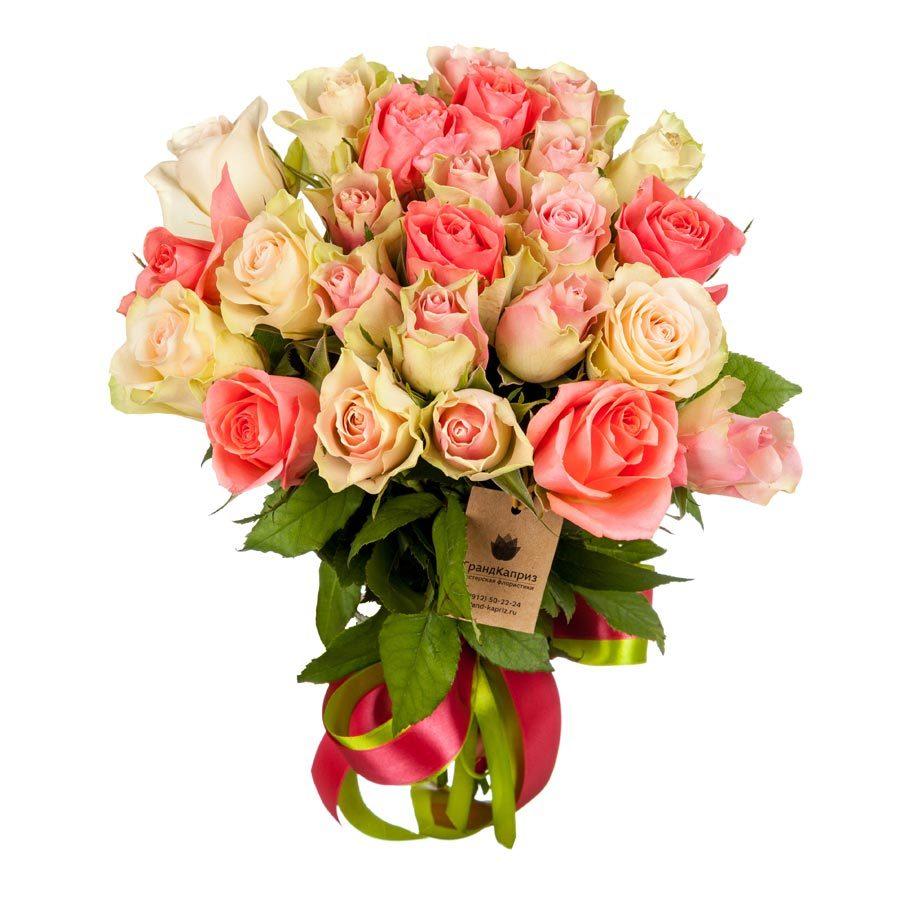 25 белых и розовых роз (40 см)