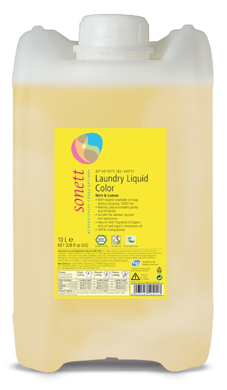 """Жидкость для стирки цветных тканей """"Мята и лимон"""" Sonett, 10 л"""
