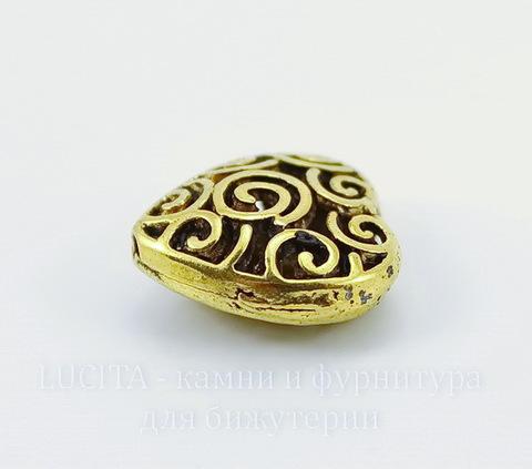 """Бусина металлическая """"Сердце в завитках"""" 16х15 мм (цвет - античное золото)"""