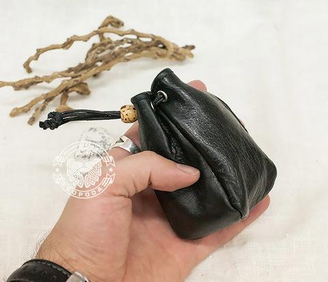 WL223-1 Кожаный кисет черного цвета на завязках (ручная работа)
