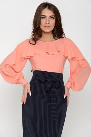 Шикарная блузка для эффектного выхода в свет. Отличное сочетание трикотажа и шифона в тон делают эту блузку неповторимой.