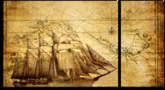 """Модульная картина """"Пиратская карта"""""""