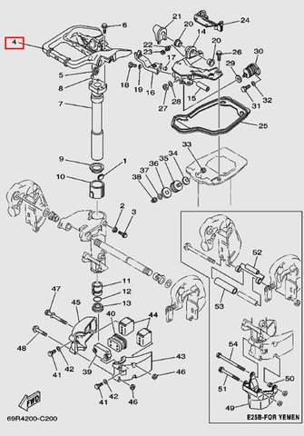 Ручка переноски с рычагом для лодочного мотора Т30 Sea-PRO (15-4)