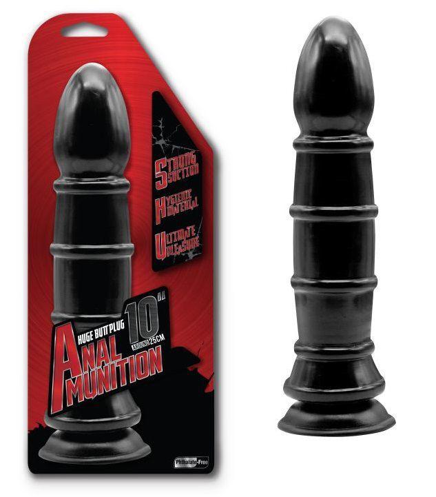 Анальные фаллоимитаторы: Чёрный анальный фаллоимитатор с рёбрышками - 25,4 см.