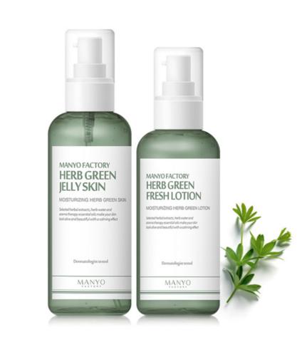 Травяной успокаивающий тонер/Травяной успокаивающий лосьон, 150мл/120мл / Manyo Factory Herb Green Jelly Skin / Fresh Lotion
