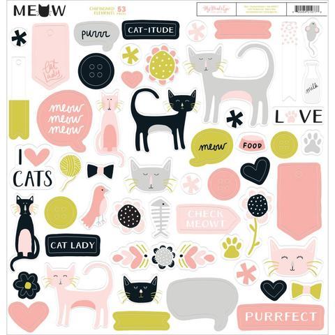 Чипборд на толстом самоклеящимся картоне  - Meow Chipboard Elements от My Mind's Eye -30 х30 см