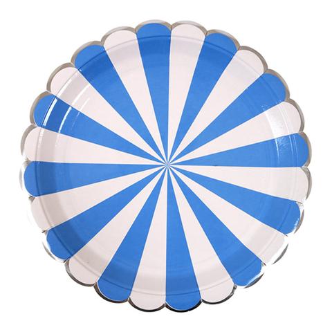 Тарелки в синюю полоску, большие