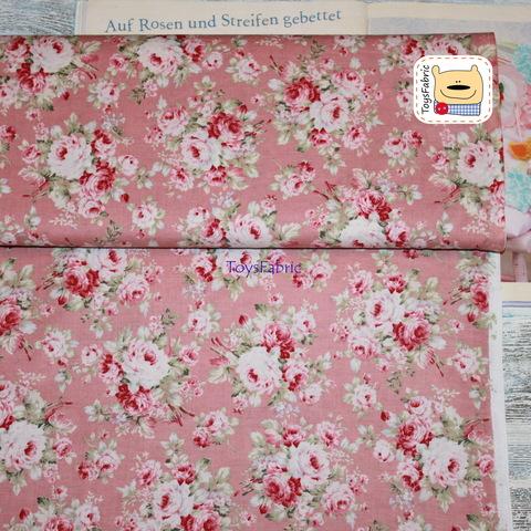 Корейский хлопок 20845 (шебби розы на розовом) 45х55см