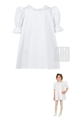 Фото Рубаха для девочки удлиненная из хлопка ( базовая модель ) рисунок Коляда головной убор - бант