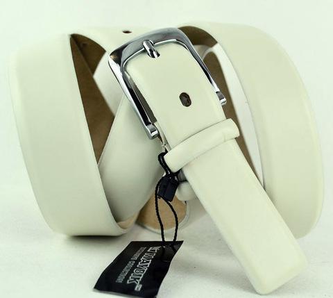 Ремень мужской классический белый дутый большого размера батал из натуральной кожи для брюк 35 мм для 35Maybik-B-026