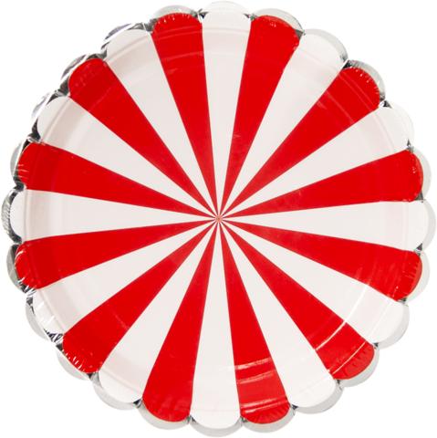 Тарелки 23 см., Серебряная кайма, Красный/Белый, 6 шт.