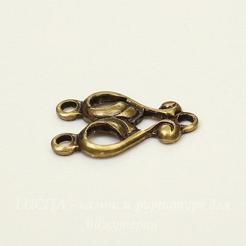 """Винтажный декоративный элемент - коннектор """"Nouveau"""" (1-2) 16х11 мм (оксид латуни)"""