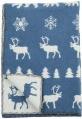 Одеяло,Лесные олени, KLIPPAN, 90 х 130 см, эко-шерсть, синий